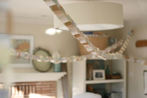 Baby shower map and sheet rock tape garland-3