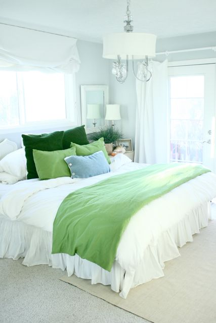 Avey's house bedroom blue and green pillows blanket-1