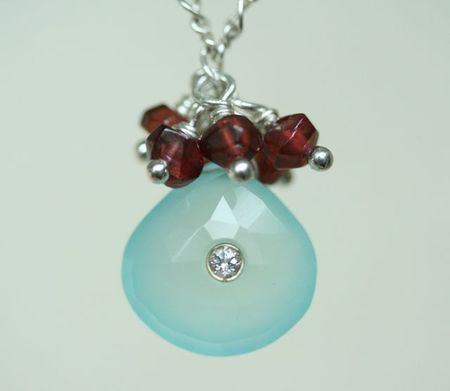 Chalcedony white topaz inset with garnets-3