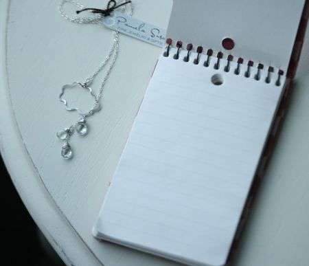 Aquamarine cloud necklace umbrella notepad