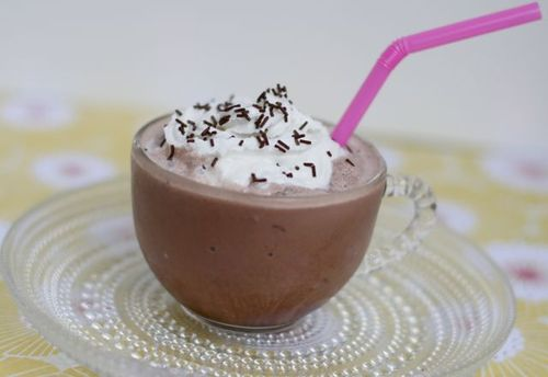 Frozen hot chocolate with pink straw