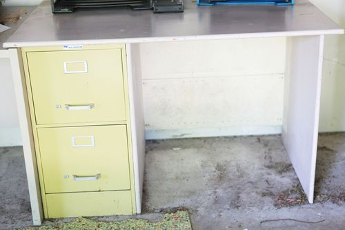 Desk with file cabinets