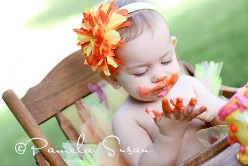Baby pic M eating cake 4
