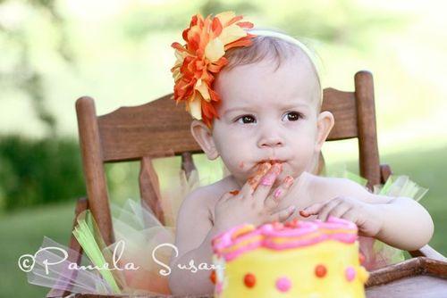Baby pic M eating cake 1