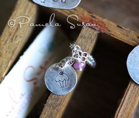 Cupcake-hand-stamped-necklace-ruby-gem