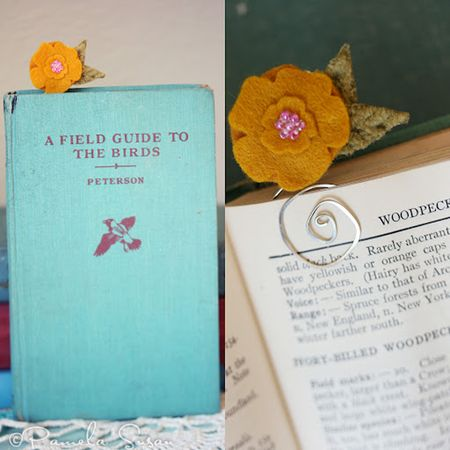 Bookmark-yellow-felt-flower-collage