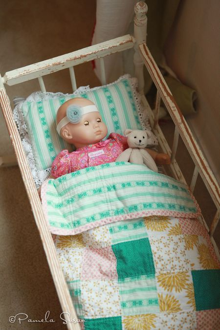 J-room-itty-bitty-american-girl-doll-baby-homemade-quilt-aqua-yellow-pink-white