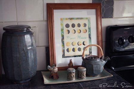 Kitchen-moon-phases-katie-daisy-warren-mackenzie-tea-pot-ellen-currans-platter-susan-nebeker-salt-pepper-shakes
