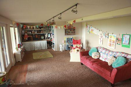 Playroom-bunting-bookshelves-vintage-strawberry-shortcake-house-dolls-9